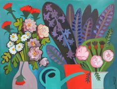 Marina Gorkaeva. Flowers.  Painting: Acrylic and Tempera on Paper.   60 H x 80.5 W x 0.1 cm.  2017