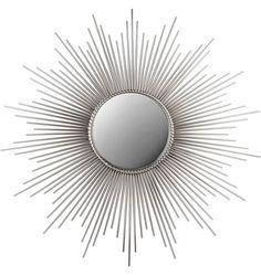 "Sunburst Mirror in Nickel, 39.5""dia, 12""dia mirror, 10 lbs, $499"
