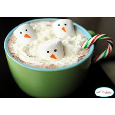 Snowman Hot Chocolate  #Christmas #Food Ideas for #Kids