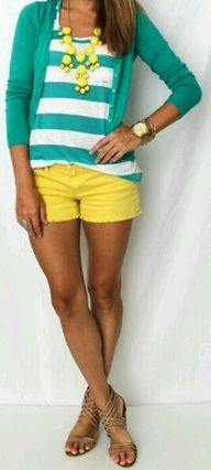 Yellow short and teal shirt nice summer dress for ladies