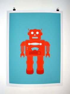 I Love Robots Poster Print UNFRAMED by deedee914 on Etsy (16x20, black frame that I hate)