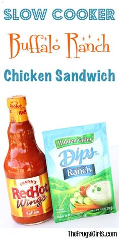 What do you get when you combine spicy Buffalo sauce and zesty Ranch mix? You get this crazy delicious Crockpot Buffalo Chicken Recipe! Just 3 ingredients! Pulled Buffalo Chicken, Buffalo Chicken Sandwiches, Buffalo Chicken Recipes, Chicken Sandwich Recipes, Recipe Chicken, Crockpot Lunch, Healthy Crockpot Recipes, Slow Cooker Recipes, Cooking Recipes