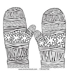 Knitted mittens with snowflakes. Christmas hand-drawn decorative elements in vector.  Pattern for coloring book. Black and white. Zentangle. Doodle, New Year, hand-drawn, Xmas.