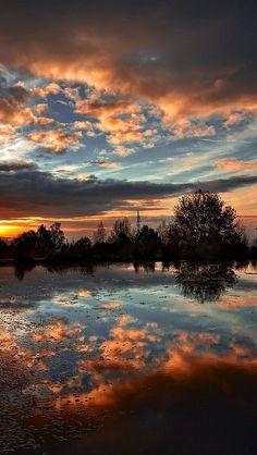 amazing sunset reflection #clouds red tree lake sea landscape nature beautiful