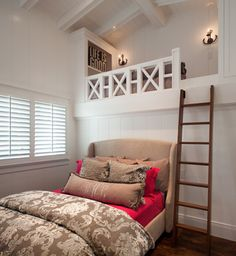 I really like room ideas that have a second floor/bunk option. Seems like a great place to just tuck away and read a book in a comfy chair or bean-bag. Or a nice little round table to do homework. To me, this is ideal for kids rooms when they are older/school age!!!