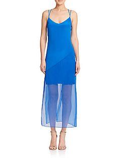 Bailey 44 Sheer-Overlay Silk Dress