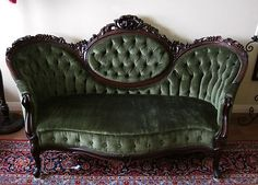 1860's Victorian Rococo Revival Carved Settee/Love Seat  (Green Velvet Horsehair)