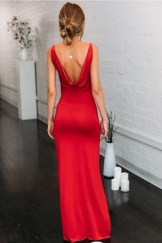 Red Maxi Dress Prom Dress The Effective Pictures We Offer You About REd dress party A quality picture can tell you many things. You can find the most Beautiful Maxi Dresses, Nice Dresses, Formal Maxi Dresses, Summer Dresses, Red Slip Dress, Fancy Maxi Dress, Dress Black, Maxi Robes, Flattering Dresses