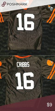 CLEVELAND BROWNS #16 Joshua Cribbs Football Jersey This is a youth XL (size 14-16) football jersey #16 Joshua Cribbs for the Cleveland Browns by Reebok. The chest measures 18 inches and the length is 24 inches. Shirts & Tops