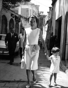 Princess Radziwill and her son Anthony, In Italy, 1962.