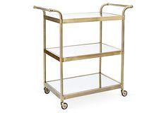 Lolita Bar Cart, Brass with mirrored glass (34.5L x 18W x 36H) $599