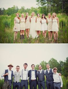 love the mix matched bridesmaids and groomsmen attire