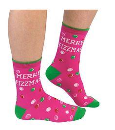 Merry Fizzmas Ladies Novelty Christmas Socks