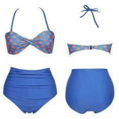 Vintage Halterneck Ruffled Polka Dot Print Women's Bikini SwimsuitSwimwear | RoseGal.com