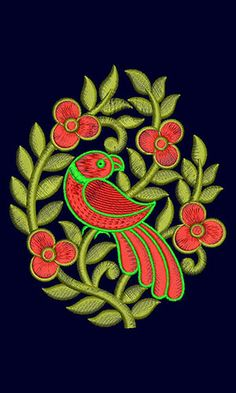 Parrot Flower Machine Embroidery Design 21921