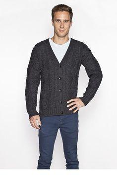 Men's V Neck Cable Knit Cardigan