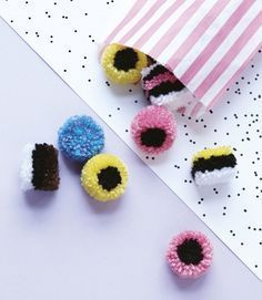 FREE Licorice Pom Pom pattern by Christine Leech on the LoveKnitting Blog. Perfect for Licorice Day!