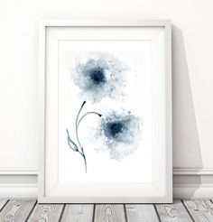 Navy Blue flower artwork, Downloadable wall art, Abstract flower painting, Digital Download, printable image