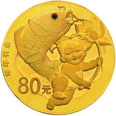 90 Yuan Gold / Silber Überschuss (Lotus & Koi) PP