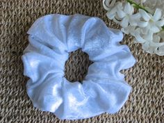WHITE Velvet Hair Scrunchie For Girls and Ladies Useful by MINZZEE, $3.50