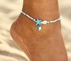 Ankle bracelets - IF ME Fashion Bohemian Imitation pearls Starfish Charms Bracelets Anklets For Women Summer Foot Chain Shell Jewelry Gift – Ankle bracelets Shell Jewelry, Beach Jewelry, Wire Jewelry, Jewelry Gifts, Jewelry Accessories, Handmade Jewelry, Jewelry Trends, Jewelry Shop, Jewelry Logo