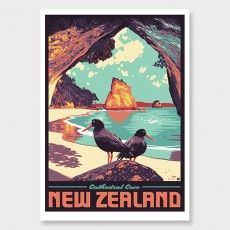 Cathedral Cove Art Print by Ross Murray Tourism Poster, Travel Posters, Craft Beer Labels, Nz Art, Poster Prints, Art Prints, Vintage Postcards, Graphic Art, Graphic Posters