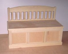 Toy Box Description: All boxes are approximately 38 L x 16 D x 15 H not including the bench back. (box only) Top of the bench back is approximately 24 high. Toy boxes are constructed with 3/4 furniture grade plywood and trimmed with appropriate hardwood according to desired finish. Lids have soft shut mechanism. These toy boxes are built to last through many generations and are sure to become Family Heirlooms. ALL TOY CHESTS ARE BUILT TO ORDER CURRENT WAIT TIME IS 12 WEEKS  Toy chests are…