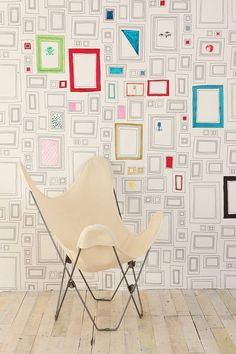 this is so cool! wallpaper that you can draw on and have tons of framed art! great for a kids room!