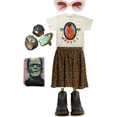 A fashion look from March 2014 featuring Attic and Barn mini skirts, Dr. Martens ankle booties and MINKPINK sunglasses. Browse and shop related looks.