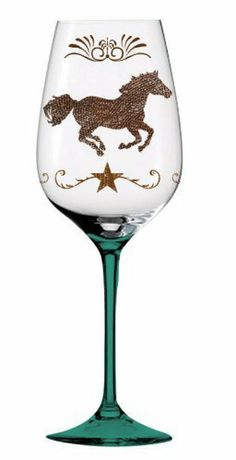 Barware, Cowboy Up!,Handpainted Wine Glass 12 oz,Glass,3.5x8.75 Inches by Cypress Home. $14.88