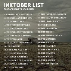"skyriazeth: ""ayahne: "" dropthedrawing: "" Preparing for Inktober 2017? I am too! And to get inspired, I have put together 8x Inktober prompt lists, to help us create something really cohesive and cool..."