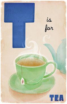 ♥ Φ T is for Tea. Art by D P Sullivan. Φ