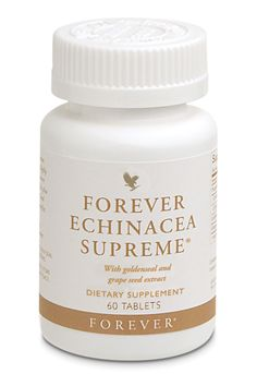 Forever Living - Forever Echinacea Supreme. A highly prized form of Echinacea (containing both Purpurea and Augustifolia) combined with goldenseal and grapeseed extract for maximum benefits. Helps maintain a healthy immune system. If you are pregnant or trying to become pregnant please consult your doctor before using this product. http://www.beforeverfree.myforever.biz/store