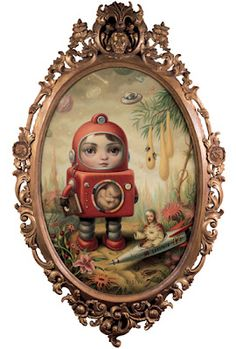 """Mark Ryden blurs the line between traditional and pop, high art and low art, cute and disturbing.  During the 1990's, Ryden's paintings ushered in a new genre of art - """"Pop Surrealism.""""  His current work trumps his surrealist themes featuring more cultural references."""