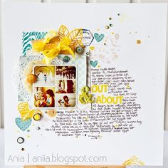 Such a fabulous layout by Ania Wade. Love the colours, layers, title, journalling and square photo collage...everything really!