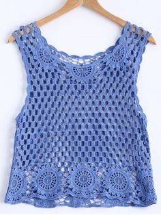 Stylish Scoop Neck Openwork Crochet Tank Top For Women Ladies Tops - Buy through the huge collection Gilet Crochet, Crochet Tunic, Crochet Clothes, Crochet Lace, Crochet Bikini, Crochet Tank Tops, Crochet For Beginners Blanket, Black Crochet Dress, Summer Dress Outfits