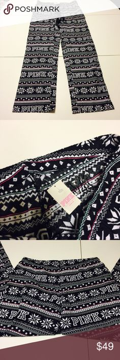 PINK Victoria's Secret Christmas Sleep Pants VS PINK pajama pants in black and white Christmas sweater print. I am also selling the matching top in my other listings! PINK Victoria's Secret Intimates & Sleepwear Pajamas
