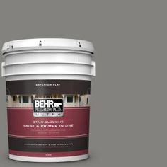 BEHR Premium Plus Ultra 5-gal. #BNC-25 Gray Pepper Flat Exterior Paint 485405 at The Home Depot - Mobile