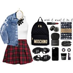 Wish It. Want It. Do It by jafashions on Polyvore featuring polyvore fashion style WearAll H&M Balenciaga Moschino Kenneth Jay Lane GUESS Brooks Brothers Casetify Givenchy NARS Cosmetics INIKA BackToSchool school backpack newbackpack