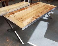 Industrial metal and reclaimed wood coffee table —