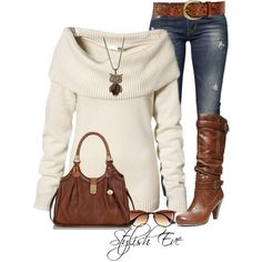 Cream sweater brown boots