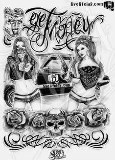 1ceb5dd44abe9 Cholos Cholas Azteca Tattoo Graffiti Gangster Weed Cannabis Charra Catrina  Payasa Marihuana Calaveras Art