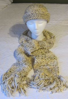 Knitted Scarf and Crochet Hat Set in Oatmeal Tweed by Kitkateden, $22.00