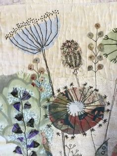 Fantastic No Cost Textile art patchwork Tips There is beauty and kindness around you. Embroidery pillows on soft muslin … – Textile art – Freehand Machine Embroidery, Free Motion Embroidery, Hand Embroidery Patterns, Embroidery Applique, Embroidery Stitches, Embroidery Designs, Embroidery Sampler, Simple Embroidery, Modern Embroidery
