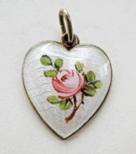 Vintage Sterling Enamel Norway Ivar Holt Guilloche Heart Charm Rose