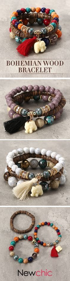 We have lots of animal beads to customize your own at Bead It! [Newchic Online Shopping] OFF Bohemian Multilayer Beads Bracelet with Tassel Pendant Bohemian Jewelry, Wire Jewelry, Jewelry Crafts, Beaded Jewelry, Jewelry Bracelets, Jewelery, Handmade Jewelry, Glass Jewelry, Ankle Bracelets