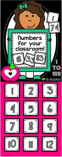 FREEBIE!  Numbers 1 to 100.  Perfect for using with your calendar, math centers, cubbie labels, or any organization idea!  Number cards for free. #numbers #freebie