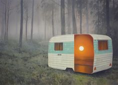 Scottish painter Andrew McIntosh (aka Mackie) takes ubiquitous structures often abandoned on rural homesteads like travel campers or sheds and reveals hidden worlds within: radiant sunsets and expansive skies that appear like portals into another place. Drawing inspiration from a childhood spent in