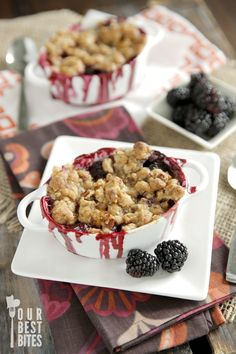 Fresh berries and Peaches are in season.  Celebrate with our Blackberry-Peach Crisp!