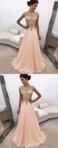 Pink A line Round Neck Chiffon Long Prom Dress,Pink Evening Dress,Cap Sleeve Applique Formal Dresses,Elegant Simple Party Dress,Prom Dresses TYE32,#pink#appliques#aline#simple#chiffon#long#elegant#beads#unique